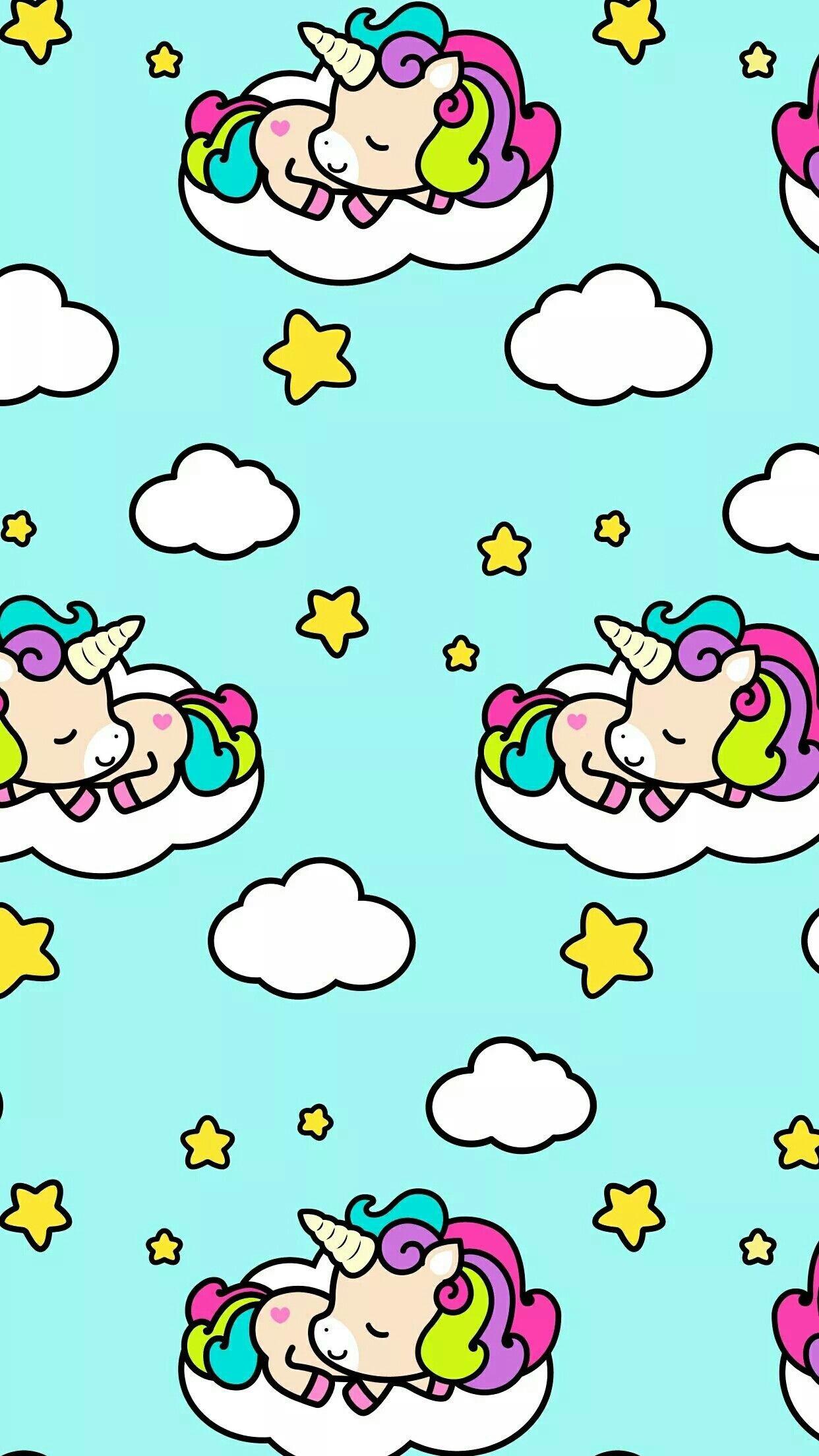 Res: 1242x2208, Unicorn Cakes · Cellphone Wallpaper · Cloud · Unicornios