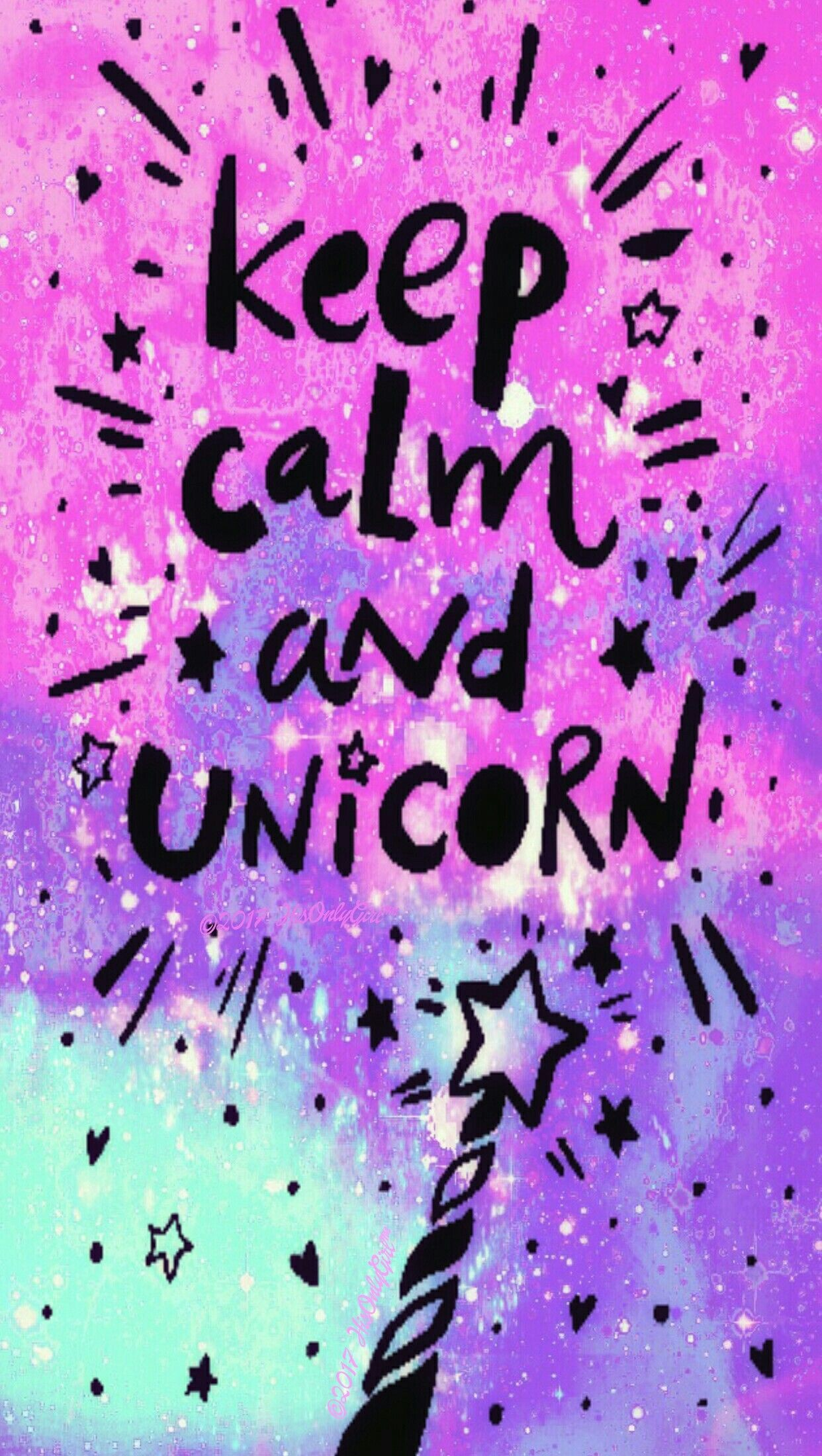 Res: 1242x2200, Keep calm Unicorn galaxy wallpaper I created for the app CocoPPa.