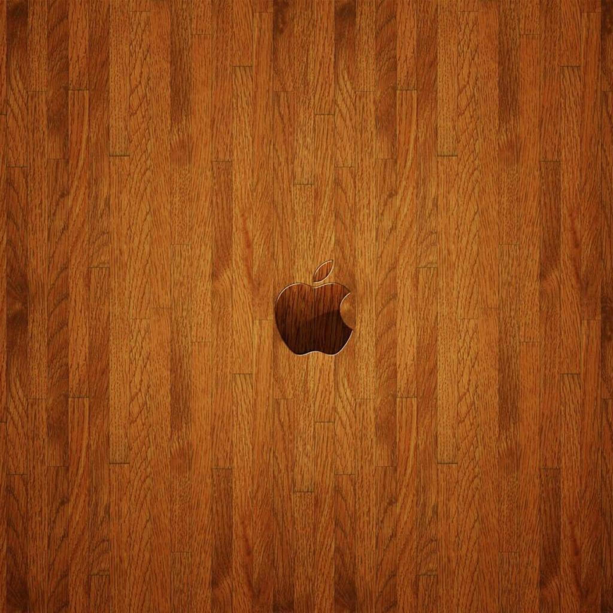 Res: 2048x2048, Apple Logo On Parquet Wood Floor