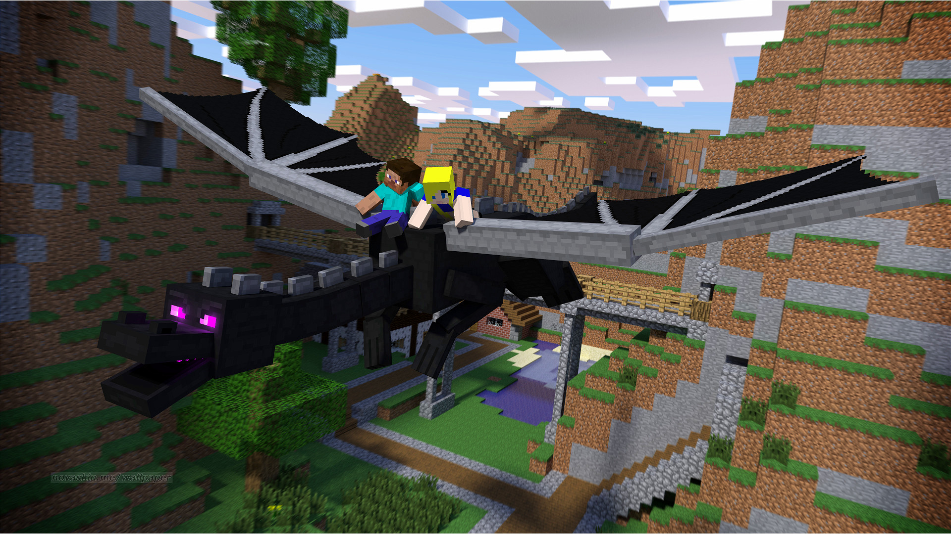 Res: 1920x1080, ... Steve and Violet Rideing Enderdragon. by Therubyminecart