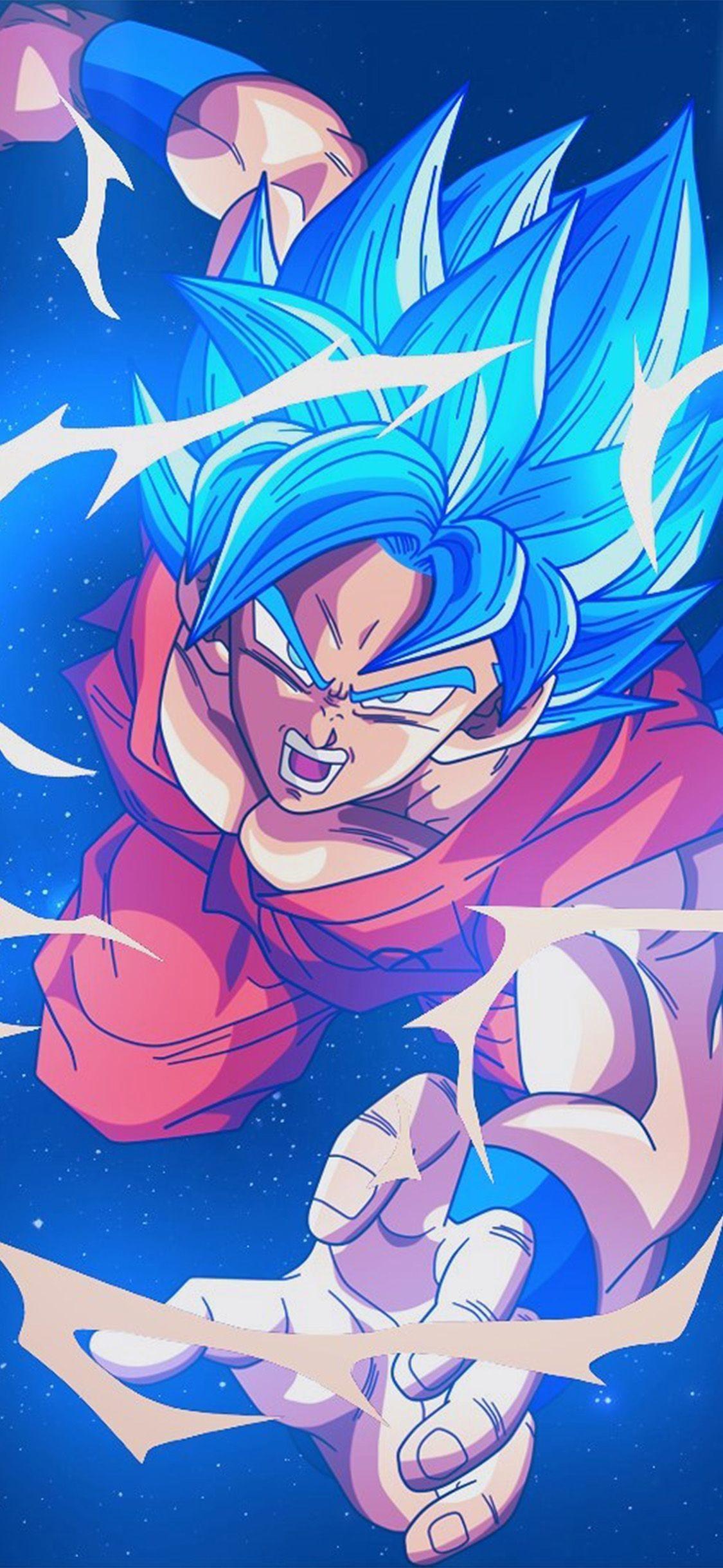 Res: 1125x2436, bc54-dragonball-goku-blue-art-illustration-anime via http: